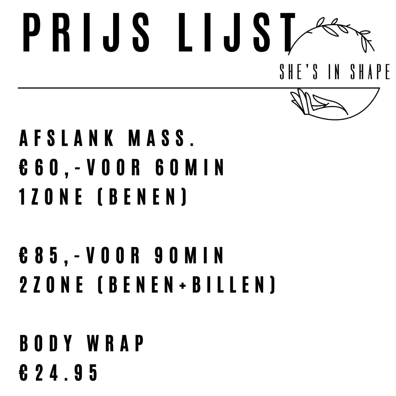 Prijslijst Shesinshape.nl